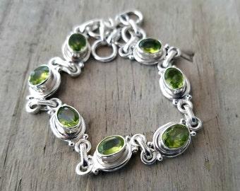 Peridot Bracelet - August Birthstone Bracelet -Silver Bracelet - Green Stone Bracelet - Silver Peridot Jewelry - Heart Chakra