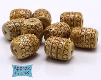 Fair Trade Cambodian Ceramic Barrel Beads--1 Pc | KB-RDC-1