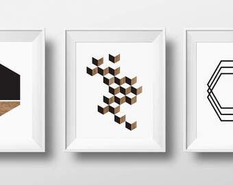 Set of 3 Prints, Print Set, Scandinavian Modern, wood Art, Scandinavian Print, Scandi Prints, Scandinavian Art Set, Mid Century Art