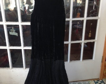 Sale:  1930's black velvet and lace siren gown with horsehair crinoline