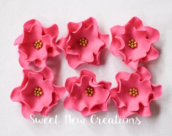 "fuschia edible flowers, 12pcs 2.5"" vintage fuchsia fondant flowers cupcake toppers wedding cake pop decorations SweetNewCreations"