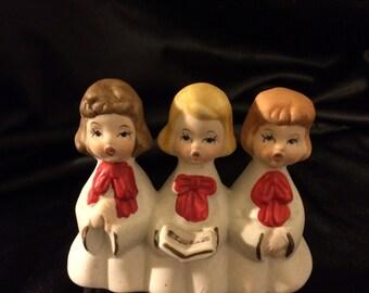 Vintage Three Girl Christmas Carolers Porcelain Figurine