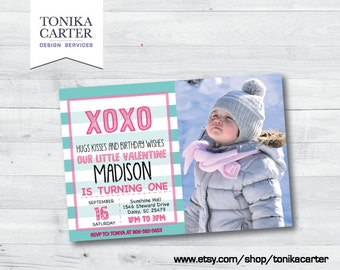 Valentine XO Birthday Party Invitation with picture (turquoise)