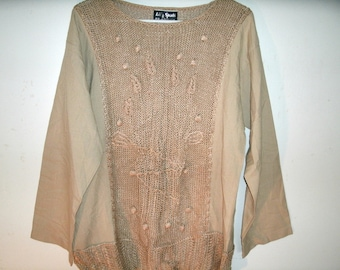 Vintage 1960s Boho Sweater, Lilly Sports, Lilly of California, Tan, Bust 41 Inches
