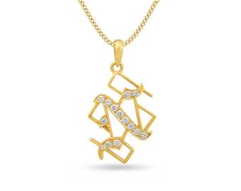 Diamond Initial Pendant, Diamond Letter 'N' Pendant, Diamond Alphabet 'N' Pendant in 18K Gold, Initial N Pendant in Gold, 18K Gold Pendant