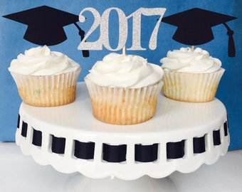 Graduation Cupcake Toppers - Cap and Gown - Congratulations Graduate - Graduation Party - 2017 - High School - College - Kindergarten