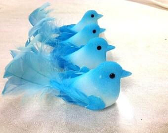 4 Blue Birds Craft Supplies Embellishments Artificial Fake Scrapbooking Wedding
