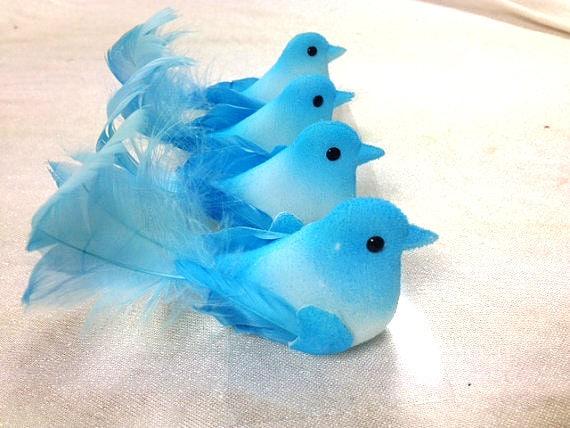 4 blue birds craft supplies embellishments artificial for Fake birds for crafts