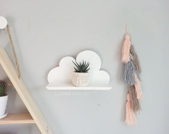 Wooden cloud shelf - pine cloud shelf - hand made white decorative shelf - modern nursery decor