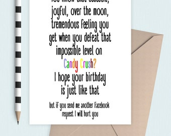 Candy crush birthday card