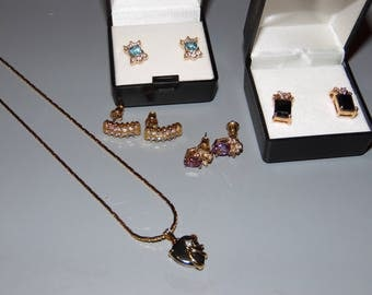 Lot of Earrings and Necklace All Pierced 14K Gold and  Genuine Gemstones Mixed Jewelry Lot