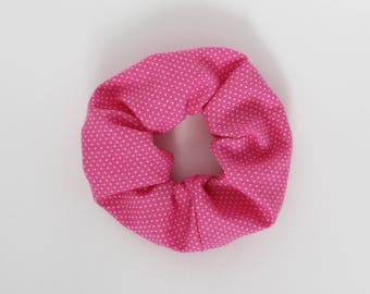 Scrunchie, Fuchsia, Hot pink, Polka dots, Hair tie, White, Modern, Fashion accessory, Elastic band, Ponytail, Cotton, Cute, Neon