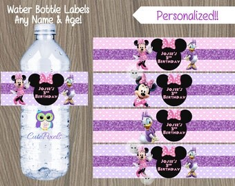 Minnie Mouse Water Bottle Labels, Daisy Duck Water Labels, Minnie Mouse Birthday, Minnie Mouse Party, Daisy Duck labels, Minnie and Daisy