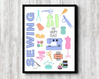 My Happy Place Printable Sign - Sewing Room Quote Art - Gift For Sewers /Seamstress - Craft Room Decor - Sewing Accessories Poster