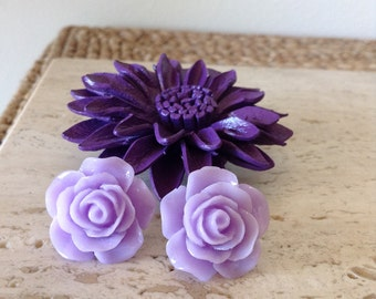 Bold oversized Dusty Purple Acrylic Rose post earrings. Make a statement with any outfit.
