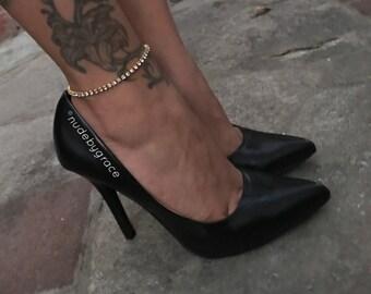anklet, gold anklet, simple anklet, silver anklet, Clear crystals anklet, crystal anklet, dainty anklet, anklets