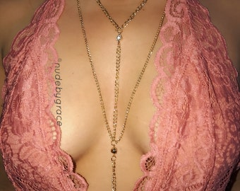 Body Chain, body jewelry, bikini body jewelry, gold body chain, bralette chain, harness body chain, rhinestone necklace