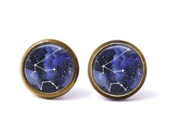 Aquarius Constellation Stud Earrings | Aquarius Earrings Constellation Jewelry Zodiac Earrings Galaxy Earrings Outer Space Star Astrology