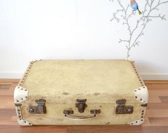 old suitcase made of wood, metal, wood suitcase corners