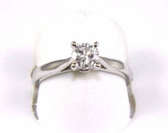 Fine Round Cut Solitaire Diamond Lady's Ring 14k White Gold .57Ct