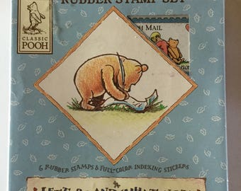 """Classic Disney Winnie The Pooh 6 Rubber Stamp Set """"Letters & What-Not"""""""