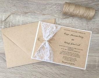 Rustic wedding invitation, lace wedding invitation, twine pearl wedding invitation, rustic lace invitation, rustic vintage invitation