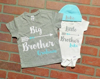Personalized Big Brother/ Little Brother Shirt / Onesie Beanie set