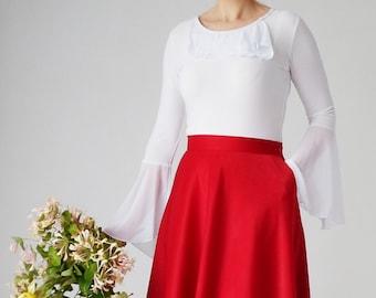 White shirt basic, frills, romantic style, bell sleeves, chiffon ruffles, boho, bohemian, 70s, romantic, jersey