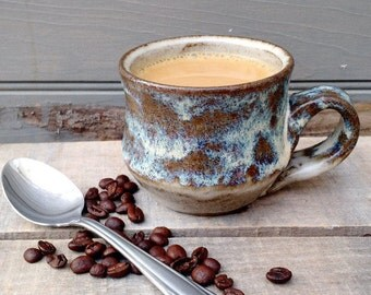 Small White and Sea Foam Mug, Handmade Ceramic, Ready to Ship