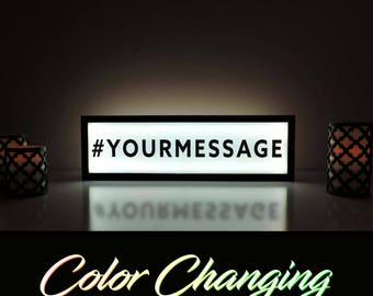 Wedding Hashtag Sign, Hashtag Sign, Social Media Sign, Custom Hashtag Sign, Custom Message Sign, Light Up Sign, Dorm Room Decor