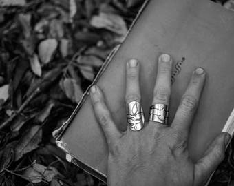 Silver wide band BRANCH RING. Armor Ring Floral Motif. Spirited Sterling Silver Ring. Spring Jewelry. Statement Ring. Hand cut Branch NAJA
