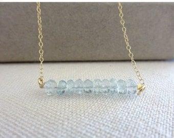 Genuine Aquamarine bar Necklace, blue Aquamarine Bridesmaid or Friendship necklace - Layered necklace, Real Aquamarine necklace