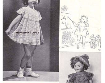 PDF Shirley Temple 13 inch Doll Dress and Girls Dress Size 4 to 6 Crochet Pattern Vintage Star Leaflet