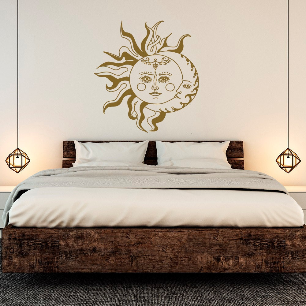 sun and moon wall decal crescent moon decor sun and stars. Black Bedroom Furniture Sets. Home Design Ideas