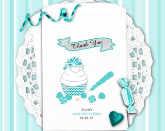 Birthday Party Favors - Party Favor Bags - Birthday Candy Bar Bags - Birthday Party Favors - Blue Cupcake   CB0BL1