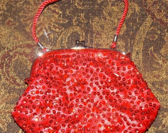 SALE Red Bling Coin Purse Evening Bag