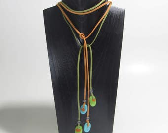 New Collection /Orange Turquoise lime green summer necklace/ Colourful or black suede rope