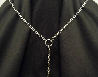 Silver chain hardware and pearl charm necklace industrial hex nut steampunk elegant handmade jewelry