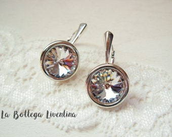 Wedding earrings 925 Italian sterling silver and Swarovski Crystal classic style