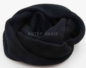 Cashmere Snood, Black cashmere scarf, Chunky Cashmere Scarf, Knitted Circle Scarf, Black Scarf, Black Loop scarf,Cashmere Infinity Scarf