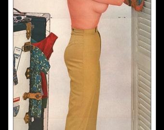 "Mature Playboy December 1961 : Playmate Centerfold Lynn Karrol Gatefold 3 Page Spread Photo Wall Art Decor 11"" x 23"""