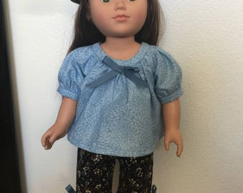 "18"" Doll Clothes, Black flowered capris and baret with matching blue top"