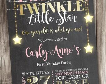 Twinkle, Twinkle Little Star Birthday Invitation, Twinkle Twinkle (Girl) Invitation, One Year Old Birthday Invitation