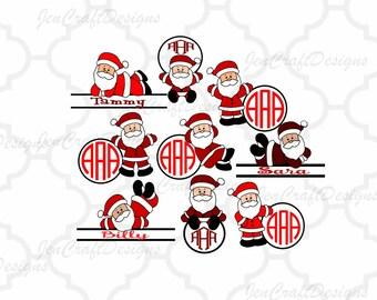 Santa Monogram Frames SVG, Split Frame SVG,EPS Png Dxf,digital download files for Silhouette Cricut, vector Clip Art graphics Vinyl Cutting