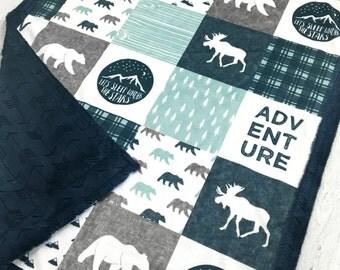 Minky Blanket - Happy Camper Blue - Designer Minky - Navy