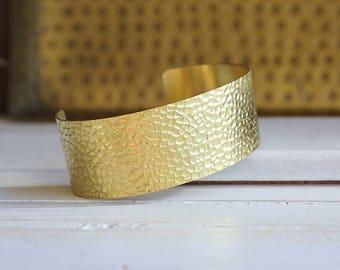 Hammered Gold Cuff // Boho Chic Cuff // Brass Cuff Bracelet
