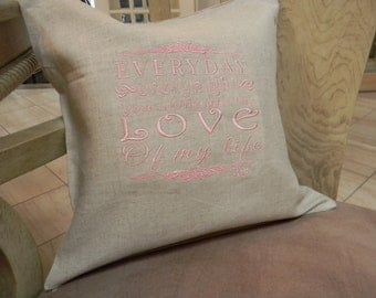 Love of My Life, Love of my life lyrics by Dave Matthews Band, embroidered pillow cover, love song lyrics, linen pillow, Valentine's Day