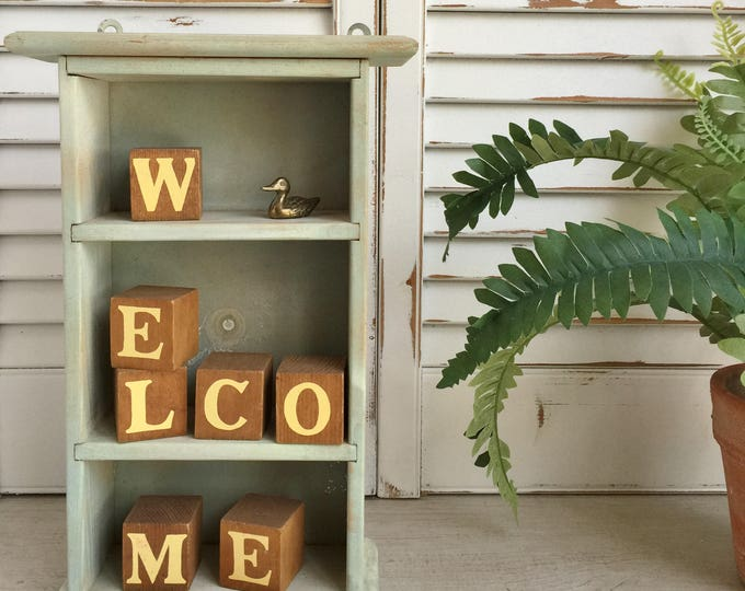 Wood Block Letters Welcome on One Side Country on the Other
