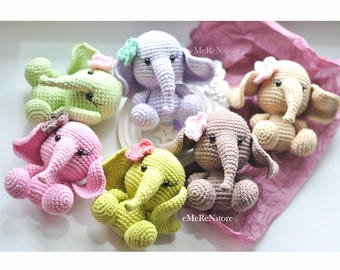 Crocheted Elephant/Nursery Decor / Amigurumi / Gift idea/ Cute elephant with flower/ pretty elephant toy/ baby shower gift/photography prop