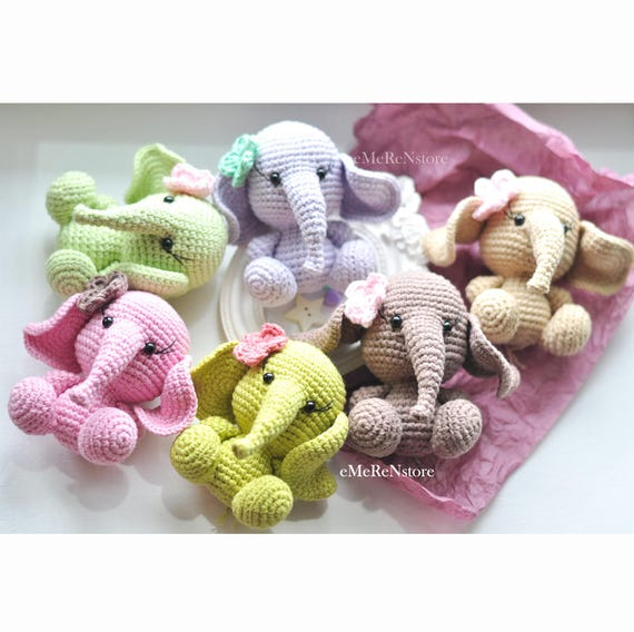 Crocheted Elephant Nursery Decor Amigurumi Gift Idea Cute